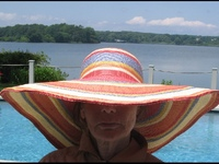 "Sunset Broad Shade Hat -- Red-Orange - 6"" Brim (smaller than photo)"