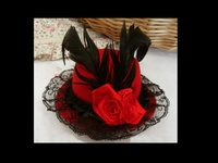 Red and Black Fascinator - Tiny Red Hat