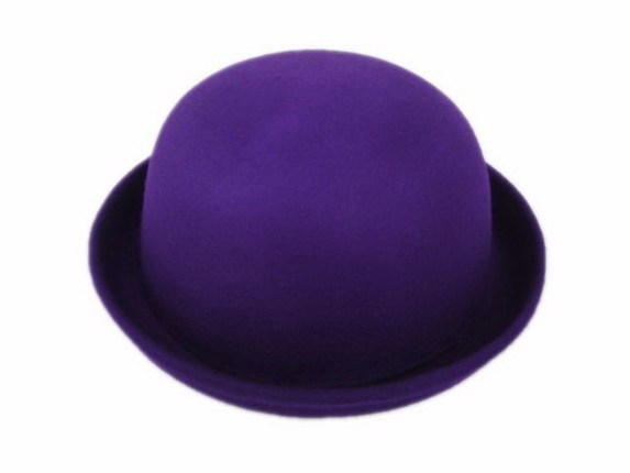 Purple Wool Felt Bowler Hat   That Way Hat. New 9d9da23fe8d4