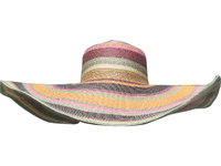 Sunset Broad Shade Hat-- Wide Sunblock Brim - Women's Feminine Grey-Orange