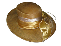 "Yellow Sinamay ""Ocean Liner"" POSH Church Hat"