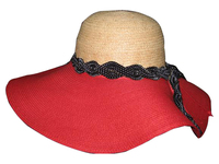 Red and Raffia with Black Spotted Ribbon