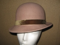 Camel Wool Bowler with Velvet Band