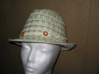 Green and White Soft Canvas Fedora