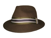 Brown Wool Fedora with School Stripe Band