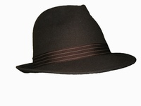 Dark Grey Wool Fedora - Striped Band