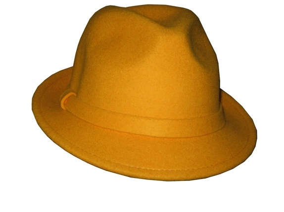 Blaze Orange or Yellow Wool Fedora   That Way Hat. New eaf797fb14b