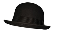 Grey Wool Bowler with Striped Band