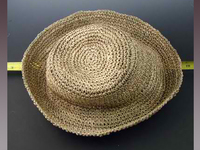 Crocheted Roller Hat of Woven Seagrass Straw
