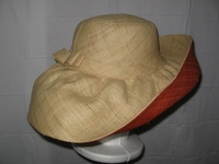 "Raffia Sun Hat - Natural and Red - 7"" Brim"