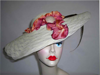 SOLD - White Saucer Style Kentucky Derby Hat