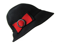 Black Wool Women's Hat with Red Bow