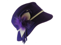Purple Wool Hat with Fur and White Trim