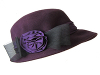 Purple Wool Women's Hat, with Purple Band & Flower