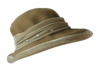 Beige Velvet with Diamonds Women's Hat