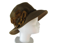 Brown Wool Felt Hat with Brown Flower