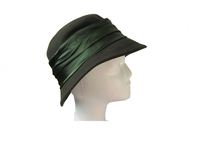 Dark Green Wool Women's Hat with Satin Band
