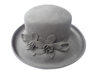 Large Wool Double Daisy Flower Taupe Grey Hat