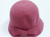 Women's Pink Wool Cloche with Felt Bow
