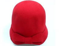 Women's Red Wool Cloche with Felt Bow