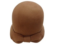 Women's Camel Wool Cloche with Felt Bow