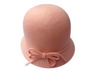 Women's Wool Hat with Felt Bow - Pink