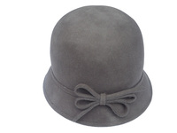 Women's Greenish Grey Wool Hat with Felt Bow