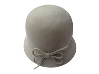 Women's Taupe Wool Hat with Felt Bow