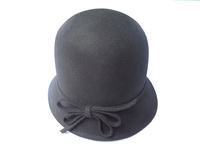 Women's Black Wool Hat with Felt Bow