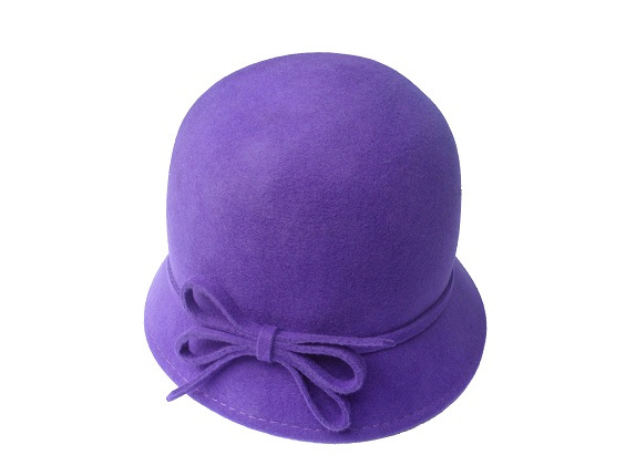 Women s Purple Wool Hat with Felt Bow   That Way Hat. New ede0aec3396