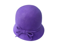 Women's Purple Wool Hat with Felt Bow