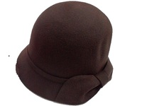 Women's Chocolate Wool Cloche with Felt Bow