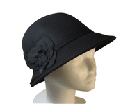 Women's Vintage Style Wool Cloche Black with Clover Flowers