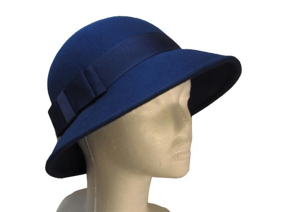 Women s Dark Blue Wool Hat with Wide Grosgrain Bow   That Way Hat. New adbec89f233