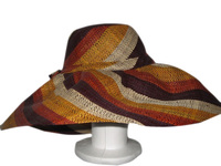 XL Earth Colors Swirl Raffia Sun Hat - Large Brim