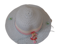 Girls' Tea Party or Easter Hat,  Hat with Rag Doll - Striped with Pastel Colors