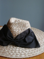 Brown Vintage Ribbon Straw Fedora