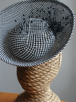 Black White Straw Avant Garde Fascinator Head Piece