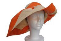 Voninkazo Wide Brim Orange and Natural Stripe Hat