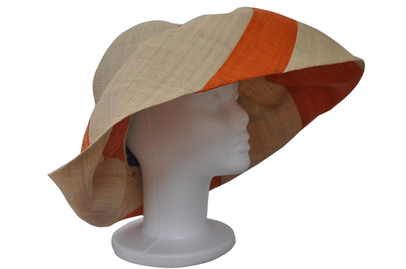 Voninkazo Wide Brim Orange and Natural Stripe Hat   That Way Hat ... 586f2b6bf29