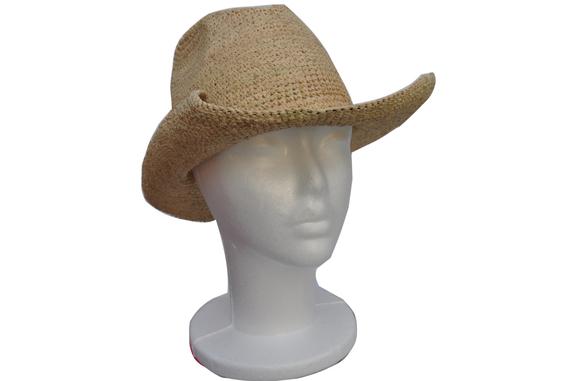 Small Crocheted Raffia Straw Cowboy Hat   That Way Hat. New d1f7cae6c4c