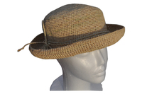 Foldable Natural Round Crocheted Raffia Straw Hat