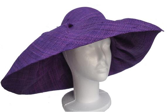 XXL Head Size Purple Raffia Sun Hat : That Way Hat. New ...