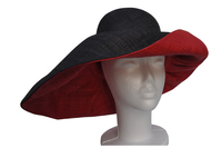 Red Inside and Black Raffia Sun Hat