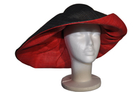 Red and Black Raffia Sun Hat