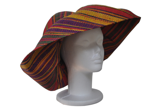 Purple Green Yellow Red Stripes Wide Hat That Way Hat