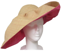 Mafana Mavokely Hot Pink & Natural Wide Brim Raffia Hat