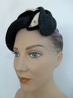 Vintage 1950's Shiny Black & White Straw Hat