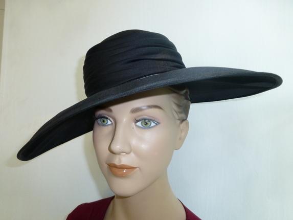 27b7728fc7c Vintage 1950 s Silk Wide Brim   That Way Hat. New