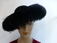 Vintage 1950's Feathered Wide Brim Hat